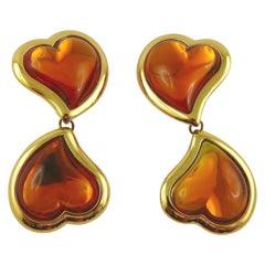 Yves Saint Laurent YSL Vintage Double Heart Dangling Earrings