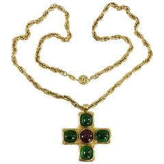 Chanel Vintage 1982 Gripoix Cross Necklace in Box