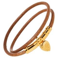 Hermes Cadena Heart Charm Leather Double Tour Bracelet