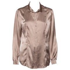 Burberry Beige Silk Satin Paneled Button Front Shirt M