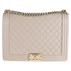 Chanel Taupe Quilted Caviar XL Boy Bag