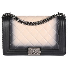 Chanel Black & Beige Ombré Quilted Leather Boy Bag