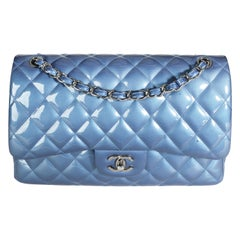 Chanel Blue Patent Leather Quilted Jumbo Classic Double Flap Bag