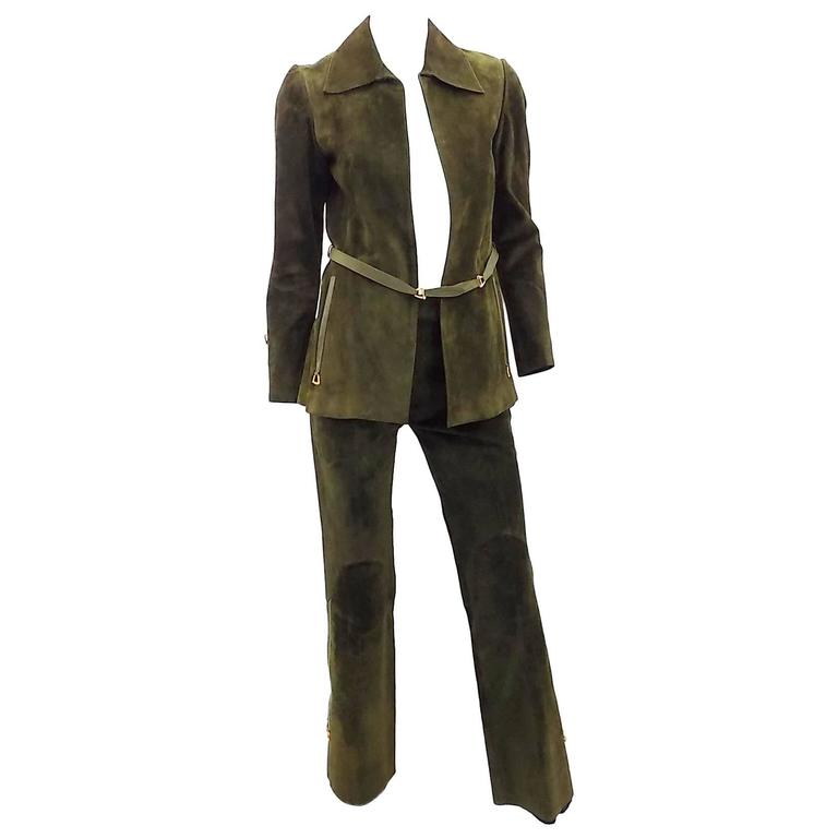 1972 Vintage Gucci Leather Pant suit with Horsebit details  RARE