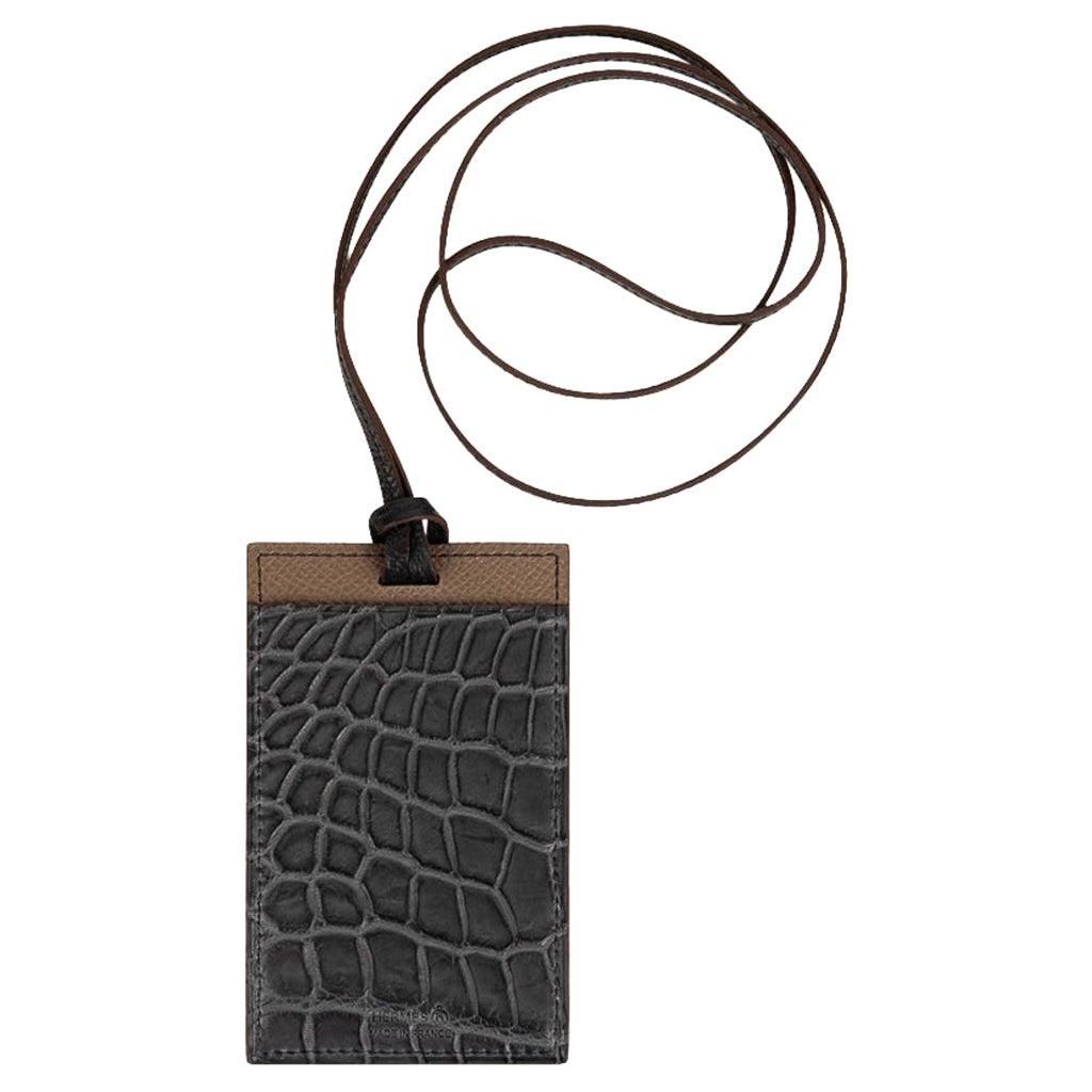 Hermes Cardholder Graphite Matte Porosus Crocodile / Etoupe Epsom