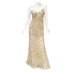 New Oscar de la Renta SS 2006 Runway Red Carpet Nude Sequin Embellished Gown 8