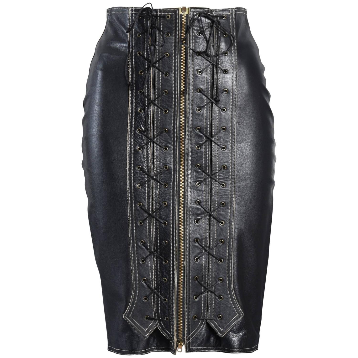 1990s jean paul gaultier leather skirt with