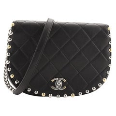 Chanel Stud Around Saddle Flap Bag Quilted Calfskin Small