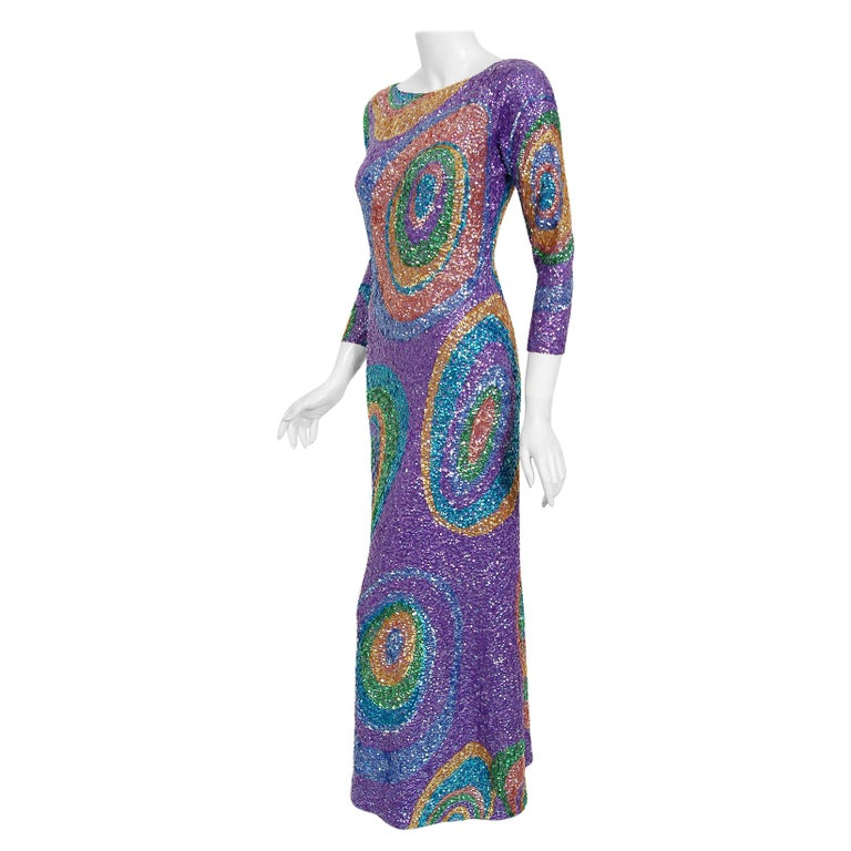 Vintage 1960's Gene Shelly Colorful Atomic Swirl Sequin Wool Knit Hourglass Gown For Sale
