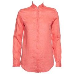 Loro Piana Pink Linen Raw Edge Detail Button Front Shirt S