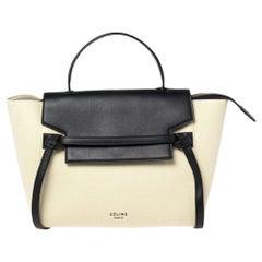 Celine Apple Green/Black Leather Mini Belt Top Handle Bag