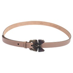 Valentino Dusty Pink Leather Crystal Butterfly Buckle Slim Belt 95 CM