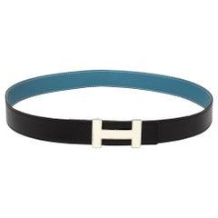Hermes Noir/Bleu Jeans Chamonix and Togo Leather Constance Reversible Belt 90 CM