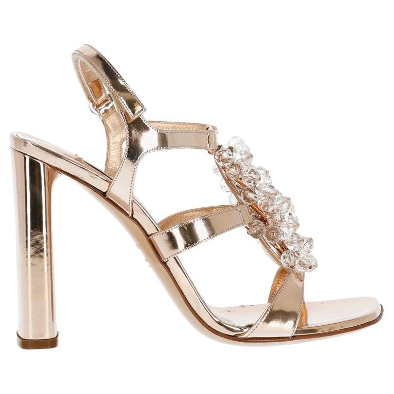 Casadei Women Sandals Bronze Leather EU 35.5