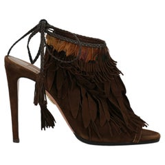 Aquazzura Women Sandals Brown Leather EU 38.5