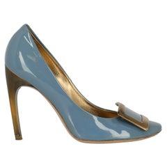 Roger Vivier Women Pumps Blue Leather EU 38.5
