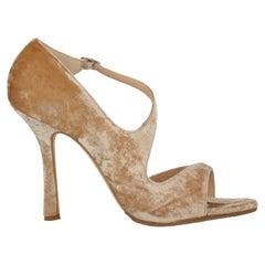 Oscar De La Renta Women Sandals Beige Fabric EU 41