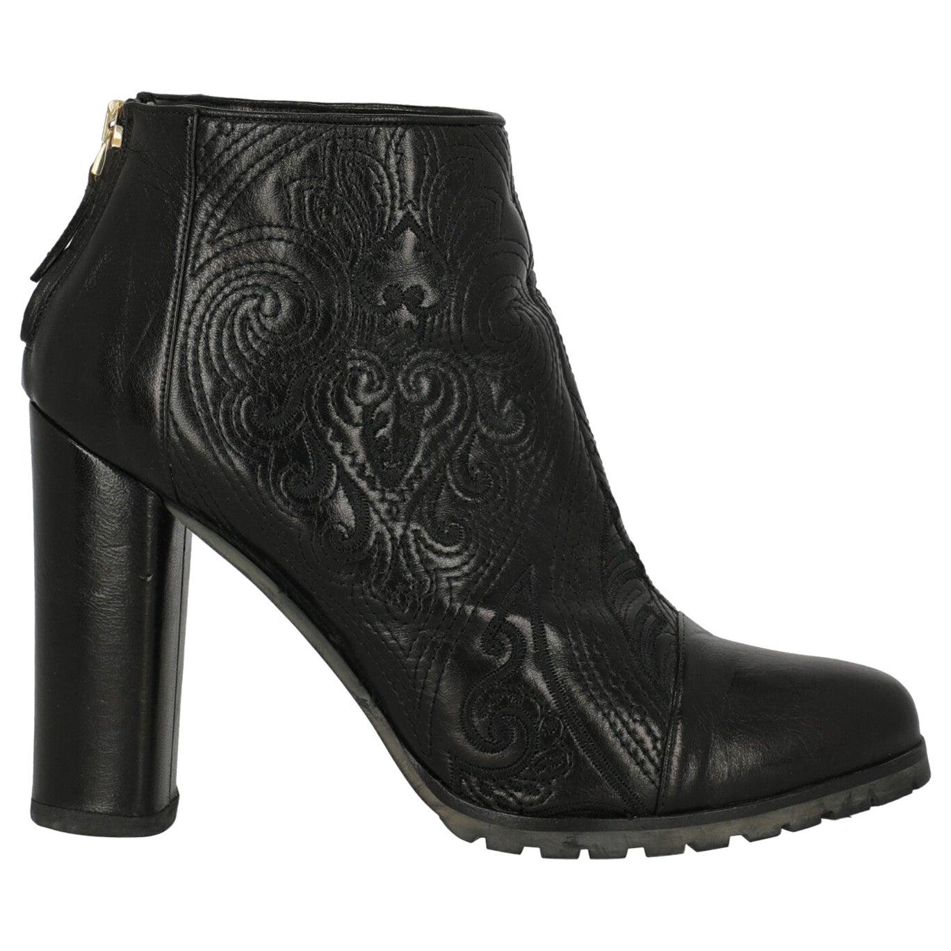 Etro Women Ankle boots Black Leather EU 40.5