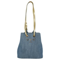 Charlotte Olympia Women Shoulder bags Blue, Gold Cotton