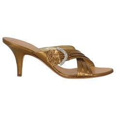 Giuseppe Zanotti Women Sandals Gold Leather EU 41