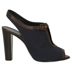 Hermès Women Sandals Brown, Navy Fabric EU 37