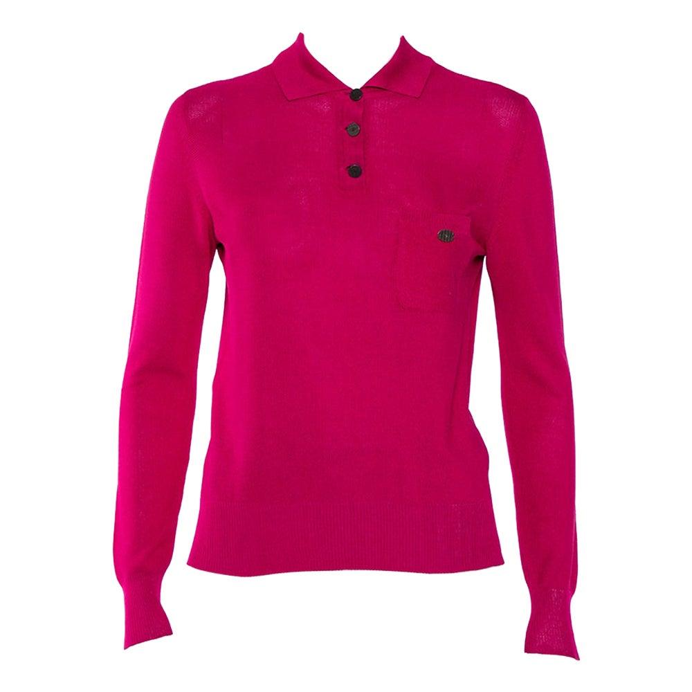 Chanel Magenta Silk Knit Long Sleeve Polo T-Shirt M