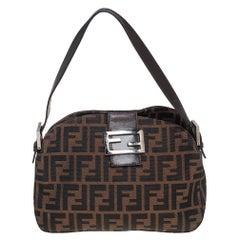 Fendi tobacco Zucca Logo Flap Baguette Shoulder Bag