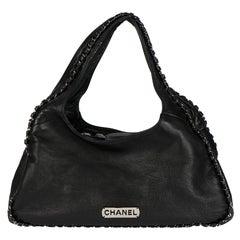 2005 Chanel Black Goatskin Chain Around Hobo Bag