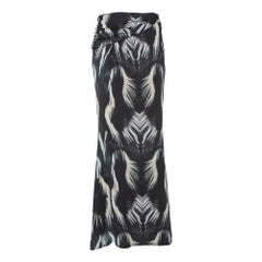 Roberto Cavalli Monochrome Printed Jersey Draped Waist Detail Maxi Skirt L