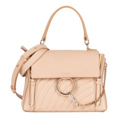 2021 Chloe Beige Quilted Calfskin Leather & Suede Small Faye Day Bag
