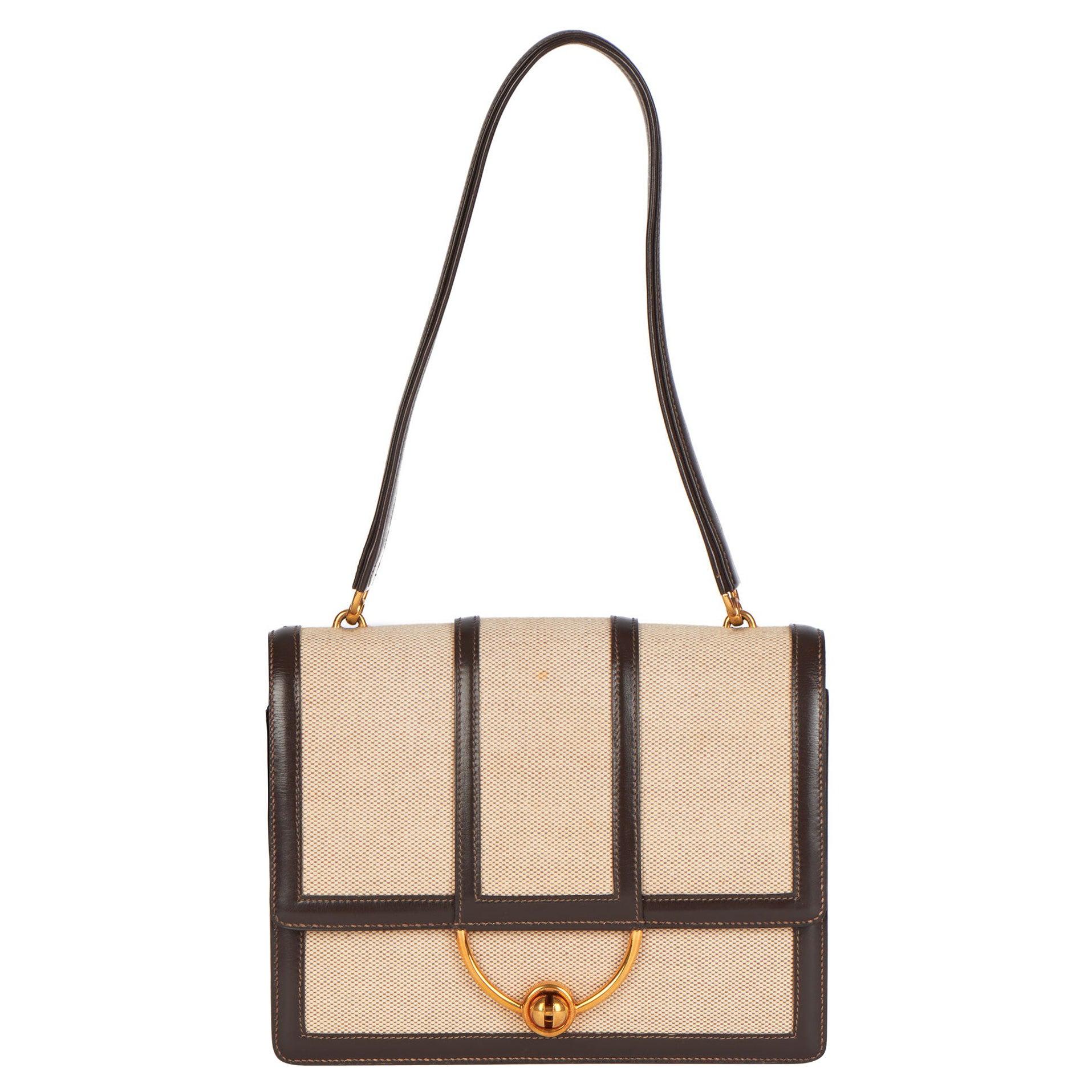 1972 Hermes Brown Box Calf Leather & Beige Canvas Vintage Ring Flap Bag