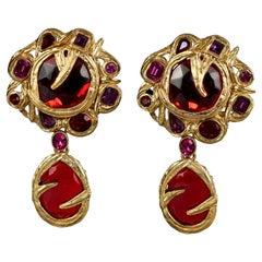 Vintage YVES SAINT LAURENT Ysl Goossens Ruby Rhinestone Flower Dangling Earrings