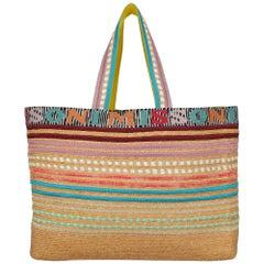 Missoni Mare Women Shoulder bags Beige, Multicolor Eco-Friendly Fabric