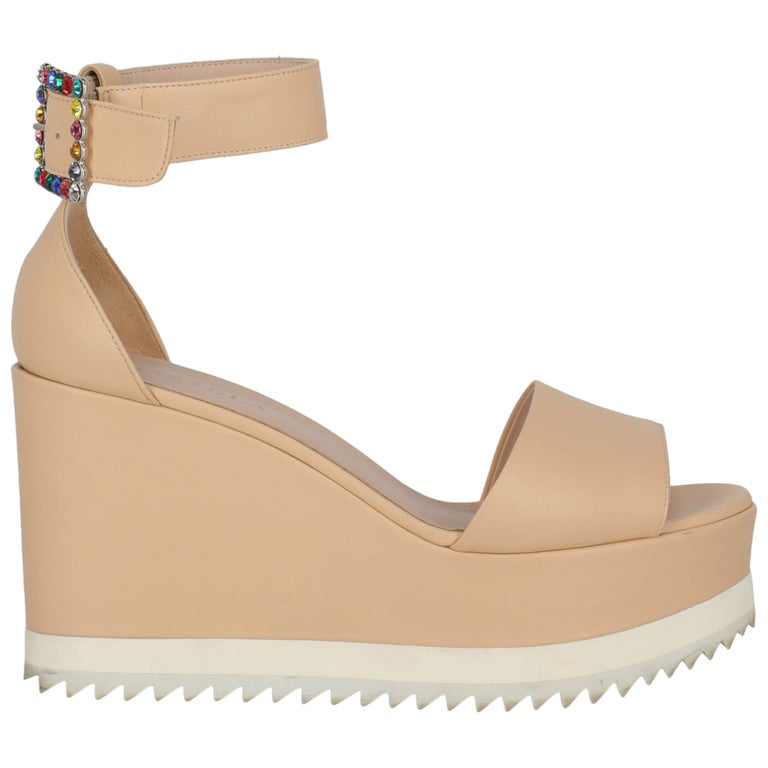 Le Silla Women Wedges Pink Leather EU 39.5 For Sale
