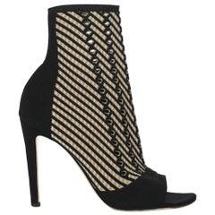 Gianvito Rossi Women Ankle boots Beige, Black Synthetic Fibers EU 39.5