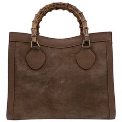 Gucci Vintage Beige Suede Princess Diana Bamboo Tote Bag