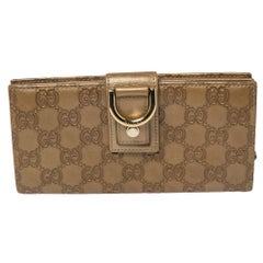 Gucci Metallic Beige Guccissima Leather Abbey D Ring Continental Wallet