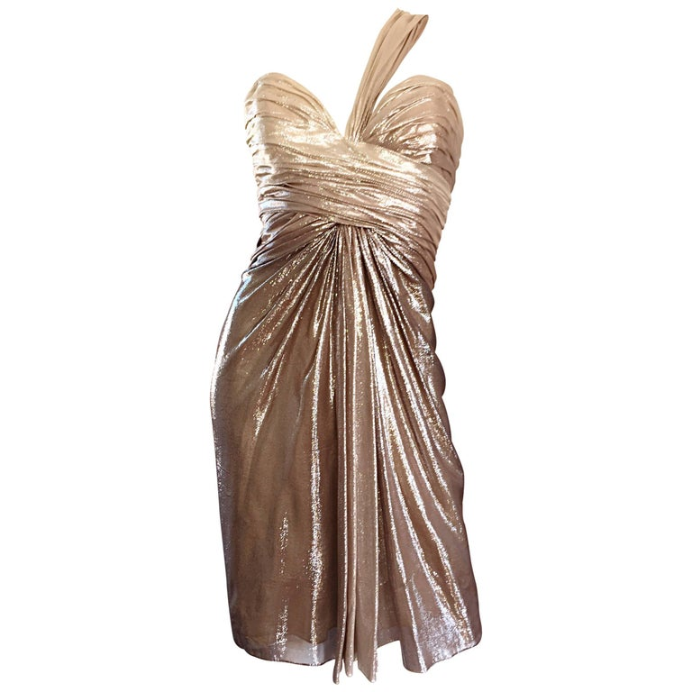 New Pamella Roland Size 6 Gold Ombre Metallic One Shoulder Grecian Silk Dress For Sale