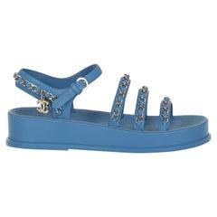 Chanel Women Sandals Blue Leather EU 36
