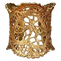 Vintage CHRISTIAN LACROIX Openwork Gilt Lace Cuff Bracelet