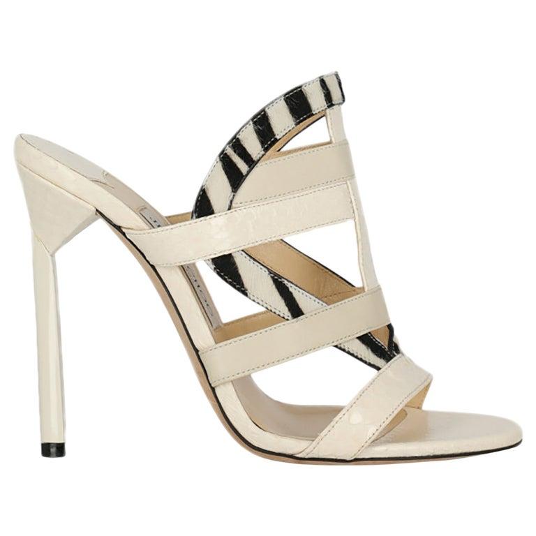 Jimmy Choo Women Sandals Black, Ecru Leather EU 39 For Sale