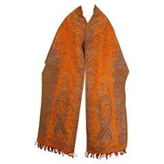 Orange Cashmere Woven Visit Shawl - France Circa 1850