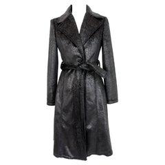 Krizia Black Laminate Long Flared Coat 1980s