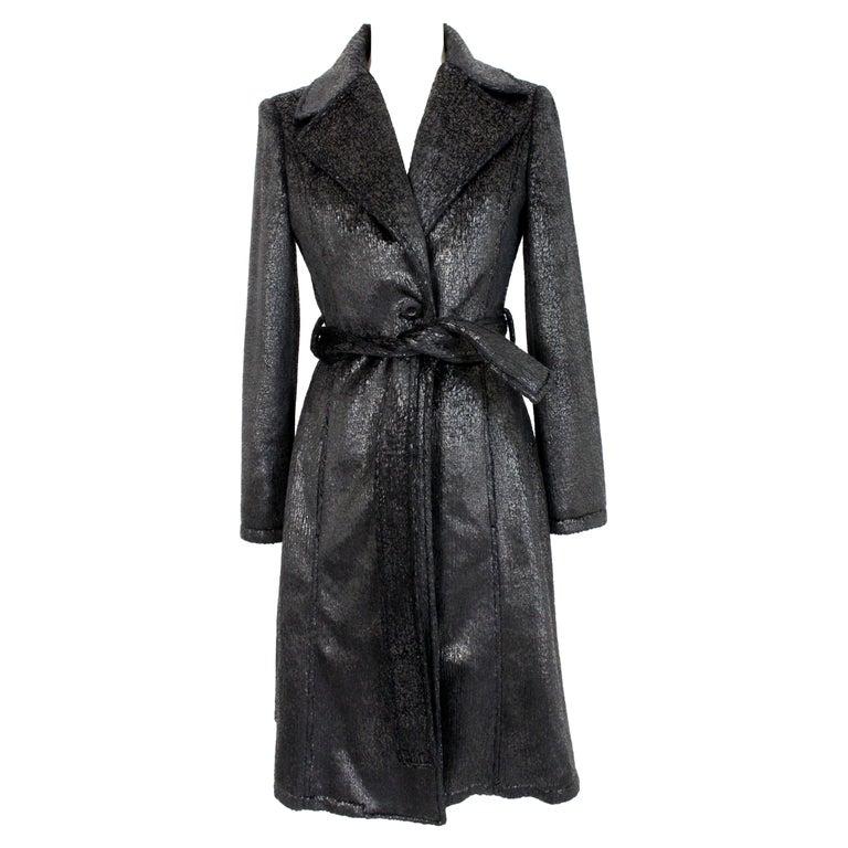 Krizia Black Laminate Long Flared Coat 1980s For Sale