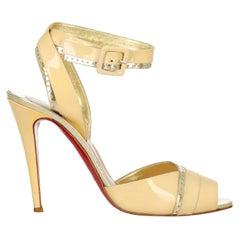 Christian Louboutin Women Sandals Ecru, Gold Leather EU 41