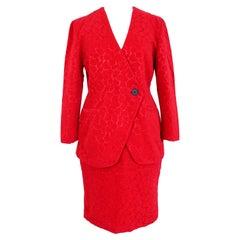 Gai Mattiolo Red Silk Damask Evening Skirt Suit