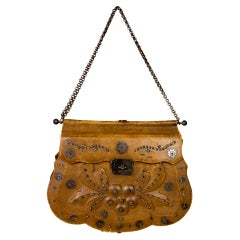 A French Empire Reticule in Leather and Steel beads - France Circa 1795-1815