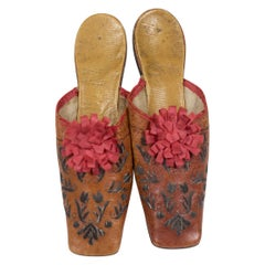 Pair Of Leather Slippers Embroidered With Tulips - France Early 19c