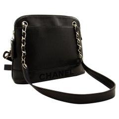 CHANEL Caviar Logo Chain Shoulder Bag Leather Black Silver Hardwar