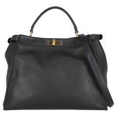 Fendi Women Handbags Peekaboo Navy Leather